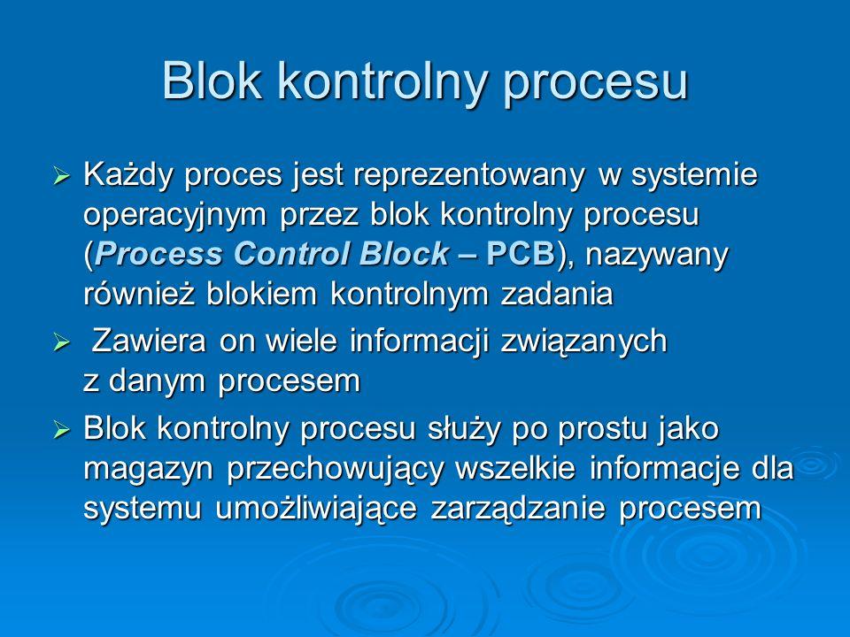 PCB stan procesu stan procesu licznik rozkazów ( wskazuje adres następnego rozkazu do wykonania w procesie) licznik rozkazów ( wskazuje adres następnego rozkazu do wykonania w procesie) rejestry procesora – informacje dotyczące tych rejestrów i licznika rozkazów muszą być przechowywane podczas przerwań, aby proces mógł być później kontynuowany rejestry procesora – informacje dotyczące tych rejestrów i licznika rozkazów muszą być przechowywane podczas przerwań, aby proces mógł być później kontynuowany informacje o planowaniu przydziału procesora (np.