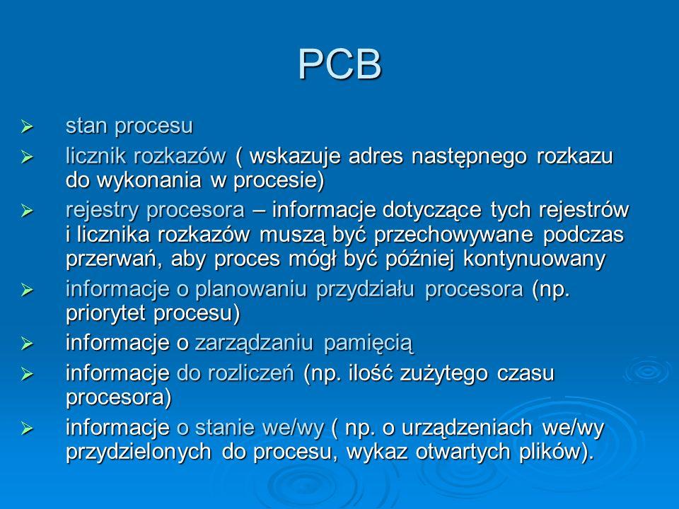 PCB stan procesu stan procesu licznik rozkazów ( wskazuje adres następnego rozkazu do wykonania w procesie) licznik rozkazów ( wskazuje adres następne