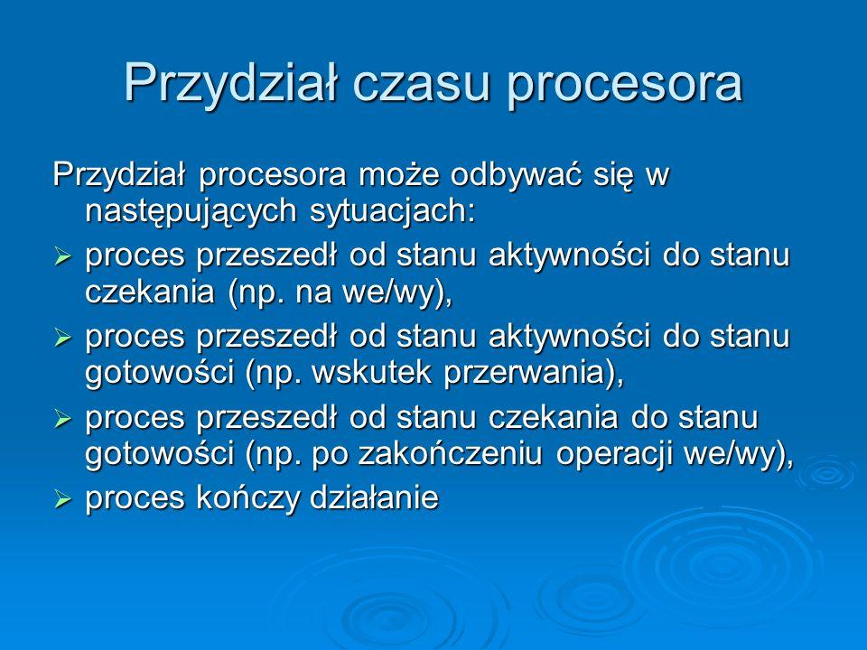 Przydział czasu procesora Jeżeli planowanie odbywa się tylko w sytuacjach a) i d), to mówimy o planowaniu bez wywłaszczeń Jeżeli planowanie odbywa się tylko w sytuacjach a) i d), to mówimy o planowaniu bez wywłaszczeń W tych sytuacjach proces, który otrzyma procesor zachowuje go aż do swojego zakończenia lub przejścia do stanu czekania W tych sytuacjach proces, który otrzyma procesor zachowuje go aż do swojego zakończenia lub przejścia do stanu czekania Ta metoda planowania jest używana w środowisku Microsoft Windows Ta metoda planowania jest używana w środowisku Microsoft Windows W przypadku, gdy planowanie odbywa się w sytuacjach b) i c), mówimy o planowaniu wywłaszczającym W przypadku, gdy planowanie odbywa się w sytuacjach b) i c), mówimy o planowaniu wywłaszczającym