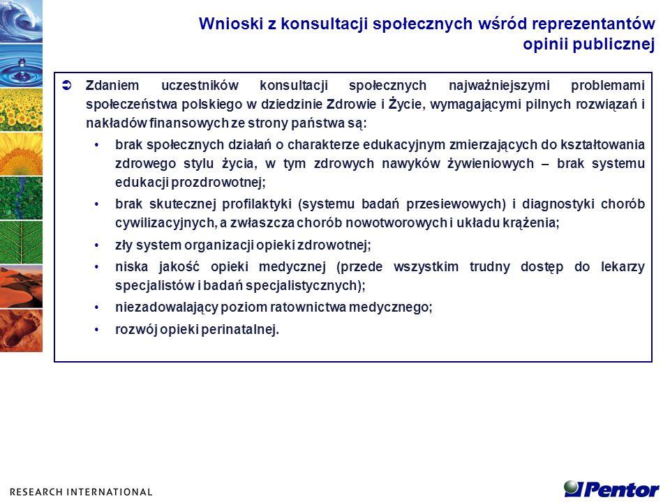 Za najważniejsze spośród 26 priorytetowych kierunków badawczych i rozwoju technologii uznano więc kierunki korespondujące z zarysowaną wcześniej diagnozą obecnego stanu społeczeństwa polskiego w dziedzinie zdrowia: nr 10 - Budowa efektywnych systemów przesiewowych; nr 1 - Rozwój metod i technik na potrzeby powszechnej edukacji zdrowotnej; nr 3 - Rozwój opieki perinatalnej, wczesnego wykrywania wad genetycznych i rozwojowych; nr 2 - Budowa programów ustawicznego kształtowania świadomości żywieniowej i racjonalizacji nawyków żywieniowych społeczeństwa; nr 18 - Rozwój metod i technik ratownictwa medycznego.