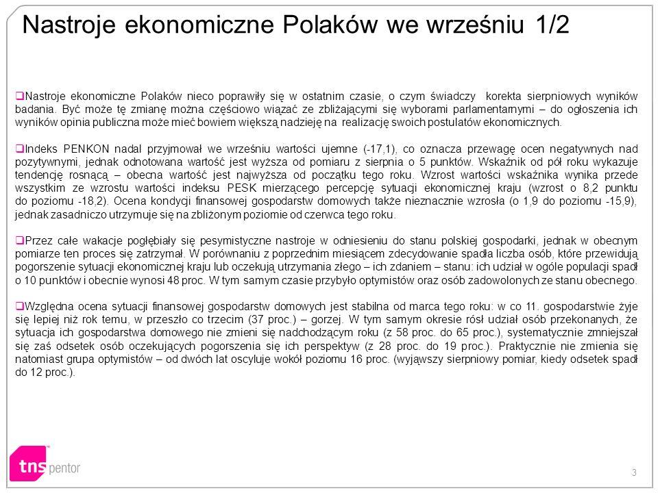 3 Nastroje ekonomiczne Polaków we wrześniu 1/2 Nastroje ekonomiczne Polaków nieco poprawiły się w ostatnim czasie, o czym świadczy korekta sierpniowych wyników badania.