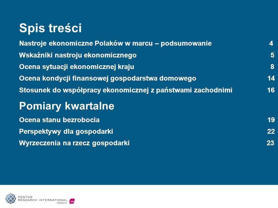Spis treści Nastroje ekonomiczne Polaków w marcu – podsumowanie 4 Wskaźniki nastroju ekonomicznego 5 Ocena sytuacji ekonomicznej kraju 8 Ocena kondycji finansowej gospodarstwa domowego 14 Stosunek do współpracy ekonomicznej z państwami zachodnimi 16 Pomiary kwartalne Ocena stanu bezrobocia 19 Perspektywy dla gospodarki 22 Wyrzeczenia na rzecz gospodarki 23