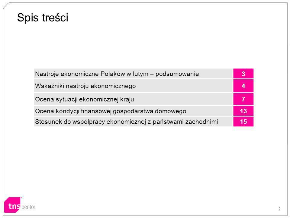 2 Spis treści Nastroje ekonomiczne Polaków w lutym – podsumowanie3 Wskaźniki nastroju ekonomicznego4 Ocena sytuacji ekonomicznej kraju7 Ocena kondycji finansowej gospodarstwa domowego13 Stosunek do współpracy ekonomicznej z państwami zachodnimi15