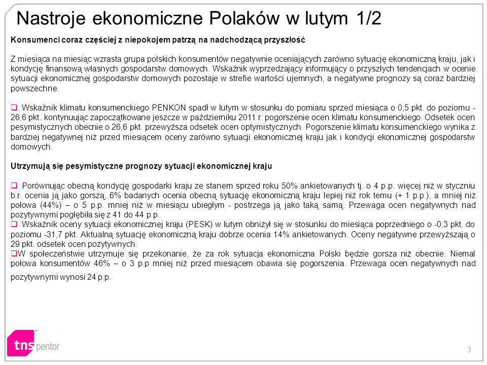 3 Nastroje ekonomiczne Polaków w lutym 1/2 Konsumenci coraz częściej z niepokojem patrzą na nadchodzącą przyszłość Z miesiąca na miesiąc wzrasta grupa