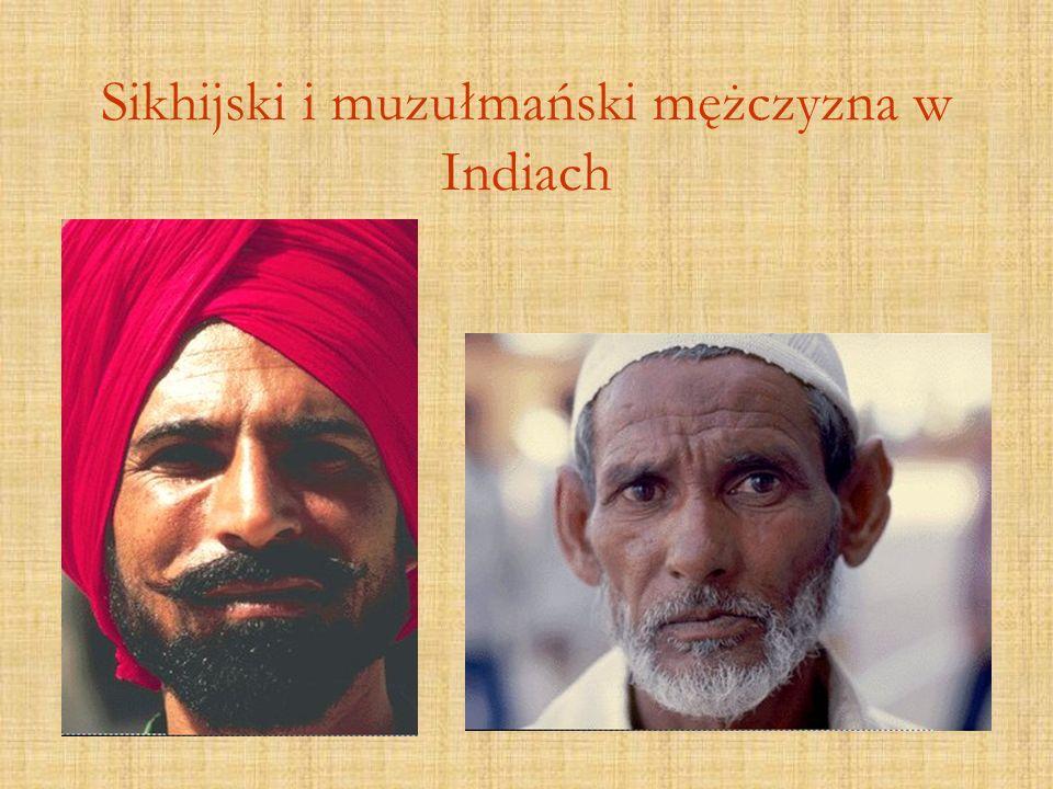 Sikhijski i muzułmański mężczyzna w Indiach