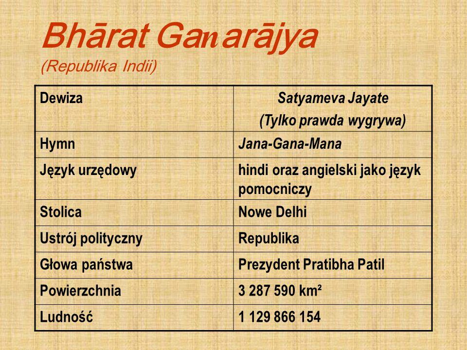 Bhārat Ga n arājya (Republika Indii) Dewiza Satyameva Jayate (Tylko prawda wygrywa) Hymn Jana-Gana-Mana Język urzędowyhindi oraz angielski jako język
