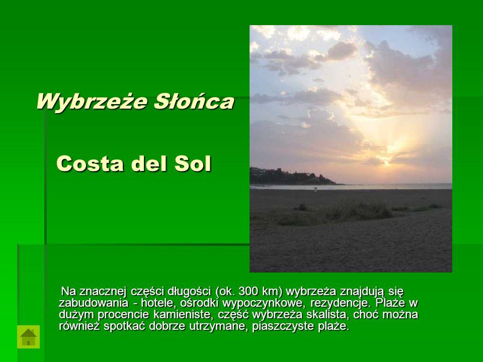 Wybrzeże Słońca Costa del Sol Na znacznej części długości (ok. 300 km) wybrzeża znajdują się zabudowania - hotele, ośrodki wypoczynkowe, rezydencje. P