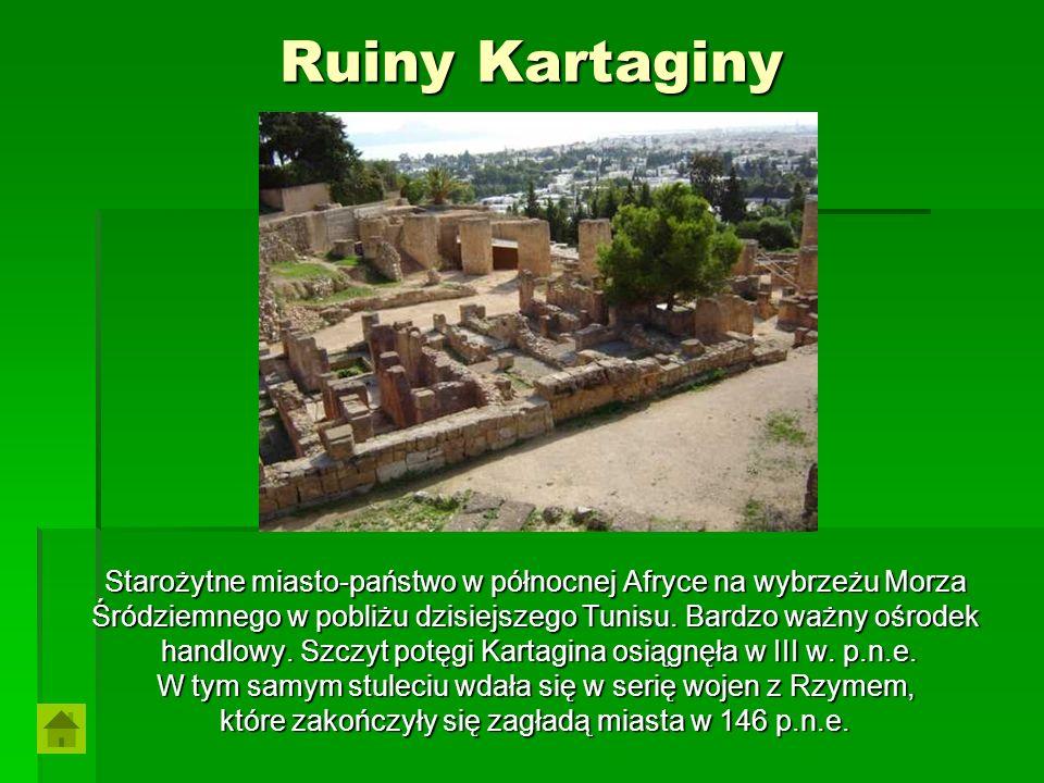 Ruiny Kartaginy Starożytne miasto-państwo w północnej Afryce na wybrzeżu Morza Śródziemnego w pobliżu dzisiejszego Tunisu. Bardzo ważny ośrodek handlo