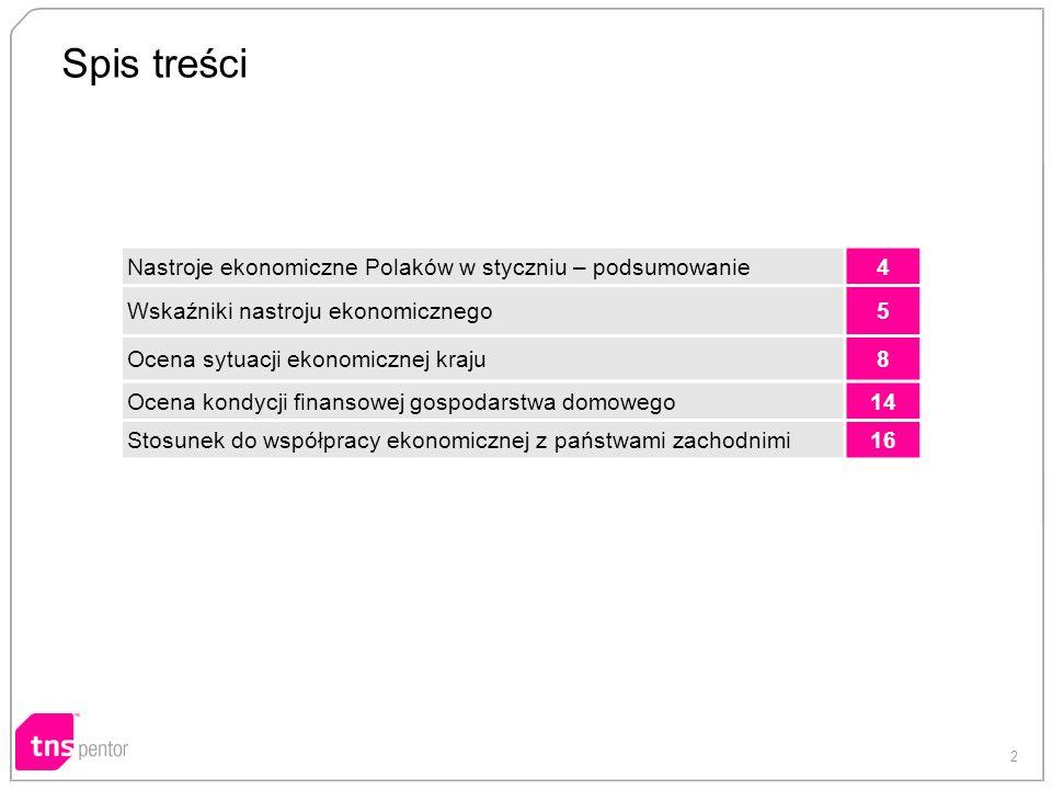 2 Spis treści Nastroje ekonomiczne Polaków w styczniu – podsumowanie4 Wskaźniki nastroju ekonomicznego5 Ocena sytuacji ekonomicznej kraju8 Ocena kondycji finansowej gospodarstwa domowego14 Stosunek do współpracy ekonomicznej z państwami zachodnimi16