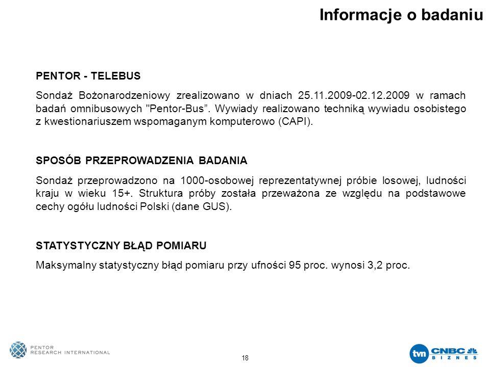 18 Informacje o badaniu PENTOR - TELEBUS Sondaż Bożonarodzeniowy zrealizowano w dniach 25.11.2009-02.12.2009 w ramach badań omnibusowych