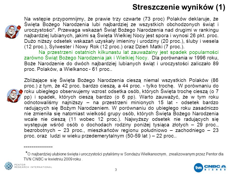 3 Streszczenie wyników (1) Na wstępie przypomnijmy, że prawie trzy czwarte (73 proc) Polaków deklaruje, że Święta Bożego Narodzenia lubi najbardziej z