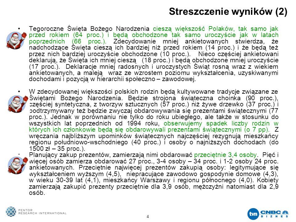 4 Streszczenie wyników (2) Tegoroczne Święta Bożego Narodzenia cieszą większość Polaków, tak samo jak przed rokiem (64 proc.) i będą obchodzone tak sa