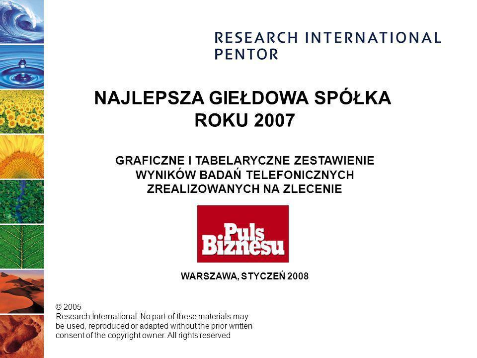 NAJLEPSZA GIEŁDOWA SPÓŁKA ROKU 2007 GRAFICZNE I TABELARYCZNE ZESTAWIENIE WYNIKÓW BADAŃ TELEFONICZNYCH ZREALIZOWANYCH NA ZLECENIE WARSZAWA, STYCZEŃ 2008 © 2005 Research International.