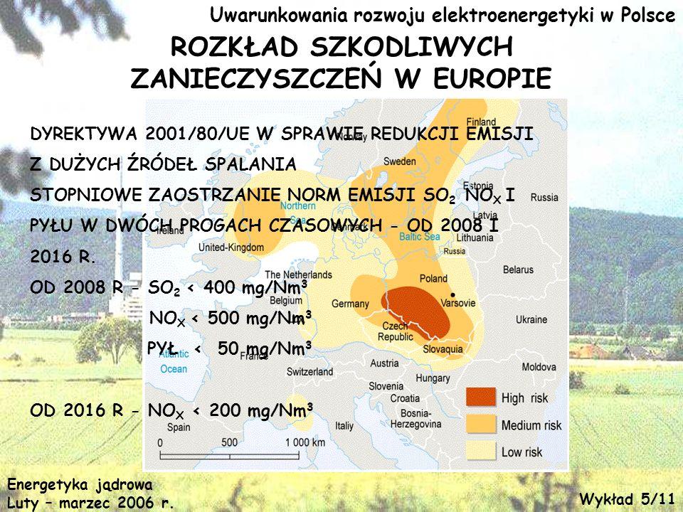 Uwarunkowania rozwoju elektroenergetyki w Polsce ROZKŁAD SZKODLIWYCH ZANIECZYSZCZEŃ W EUROPIE DYREKTYWA 2001/80/UE W SPRAWIE REDUKCJI EMISJI Z DUŻYCH