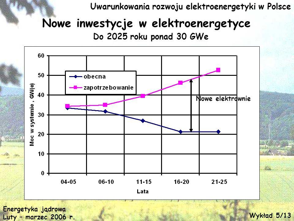 Uwarunkowania rozwoju elektroenergetyki w Polsce Nowe elektrownie Nowe inwestycje w elektroenergetyce Do 2025 roku ponad 30 GWe Energetyka jądrowa Lut
