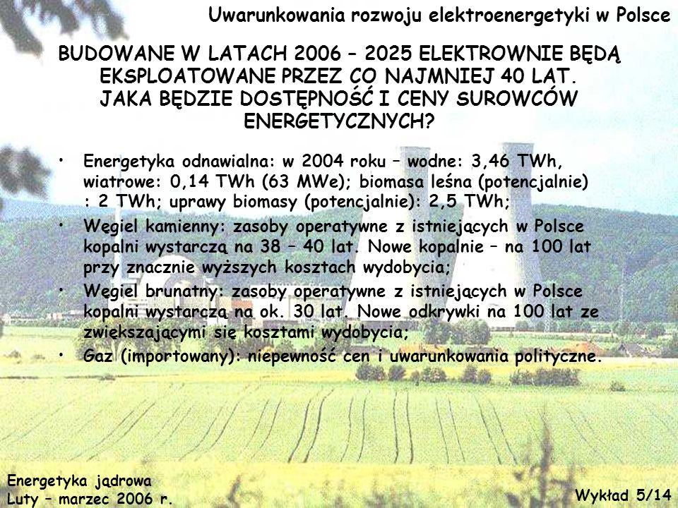 Uwarunkowania rozwoju elektroenergetyki w Polsce BUDOWANE W LATACH 2006 – 2025 ELEKTROWNIE BĘDĄ EKSPLOATOWANE PRZEZ CO NAJMNIEJ 40 LAT. JAKA BĘDZIE DO