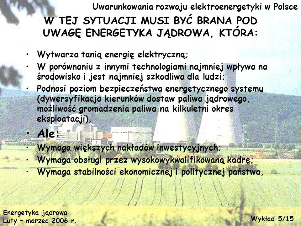 Uwarunkowania rozwoju elektroenergetyki w Polsce W TEJ SYTUACJI MUSI BYĆ BRANA POD UWAGĘ ENERGETYKA JĄDROWA, KTÓRA: Wytwarza tanią energię elektryczną