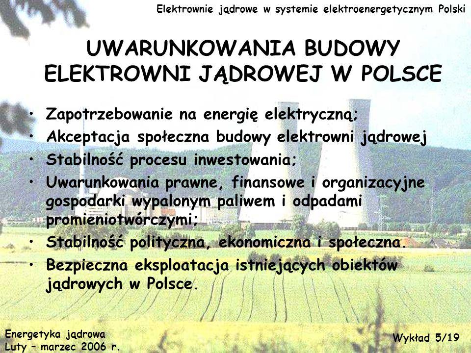 Elektrownie jądrowe w systemie elektroenergetycznym Polski UWARUNKOWANIA BUDOWY ELEKTROWNI JĄDROWEJ W POLSCE Zapotrzebowanie na energię elektryczną; A