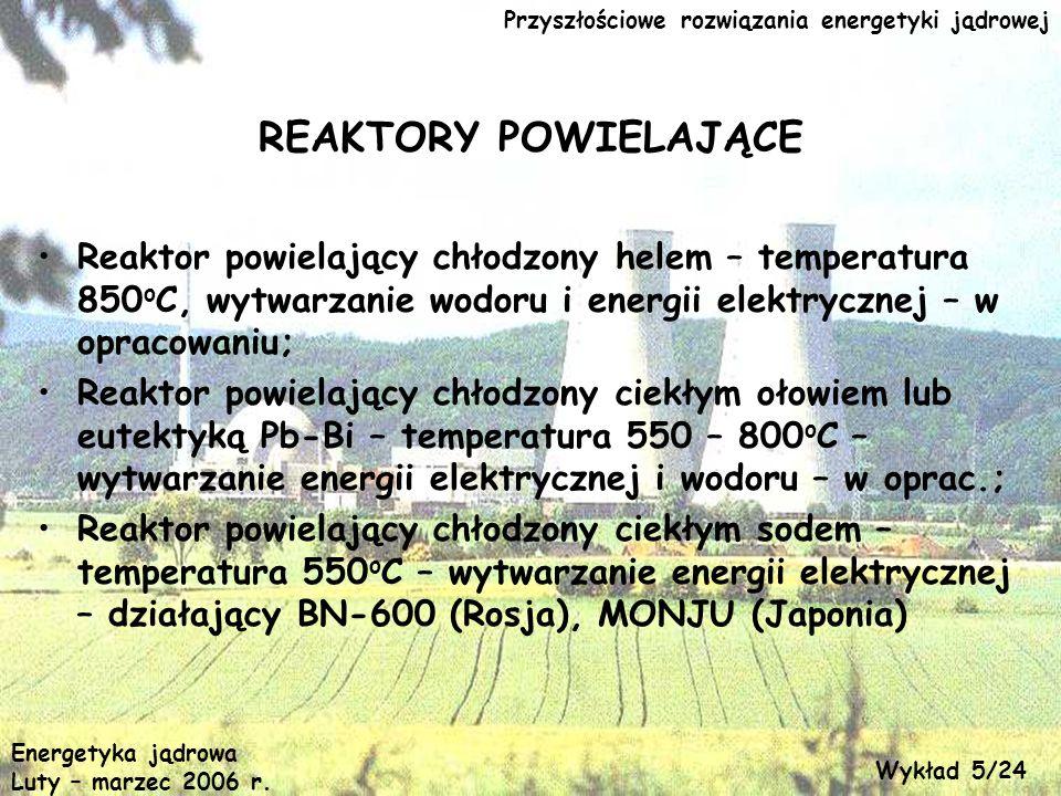 Przyszłościowe rozwiązania energetyki jądrowej REAKTORY POWIELAJĄCE Reaktor powielający chłodzony helem – temperatura 850 o C, wytwarzanie wodoru i en