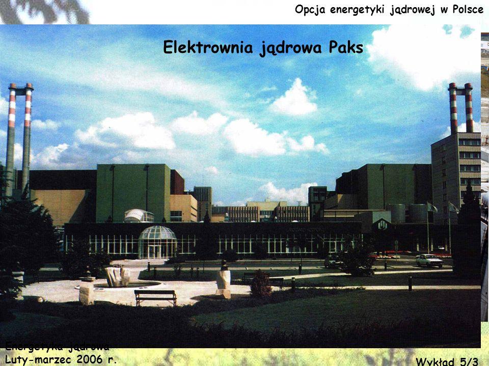 Opcja energetyki jądrowej w Polsce Elektrownia jądrowa Paks Energetyka jądrowa Luty-marzec 2006 r. Wykład 5/3