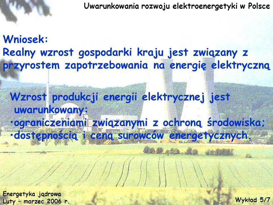 Energetyka jądrowa Luty – marzec 2006 r. Uwarunkowania rozwoju elektroenergetyki w Polsce Wniosek: Realny wzrost gospodarki kraju jest związany z przy