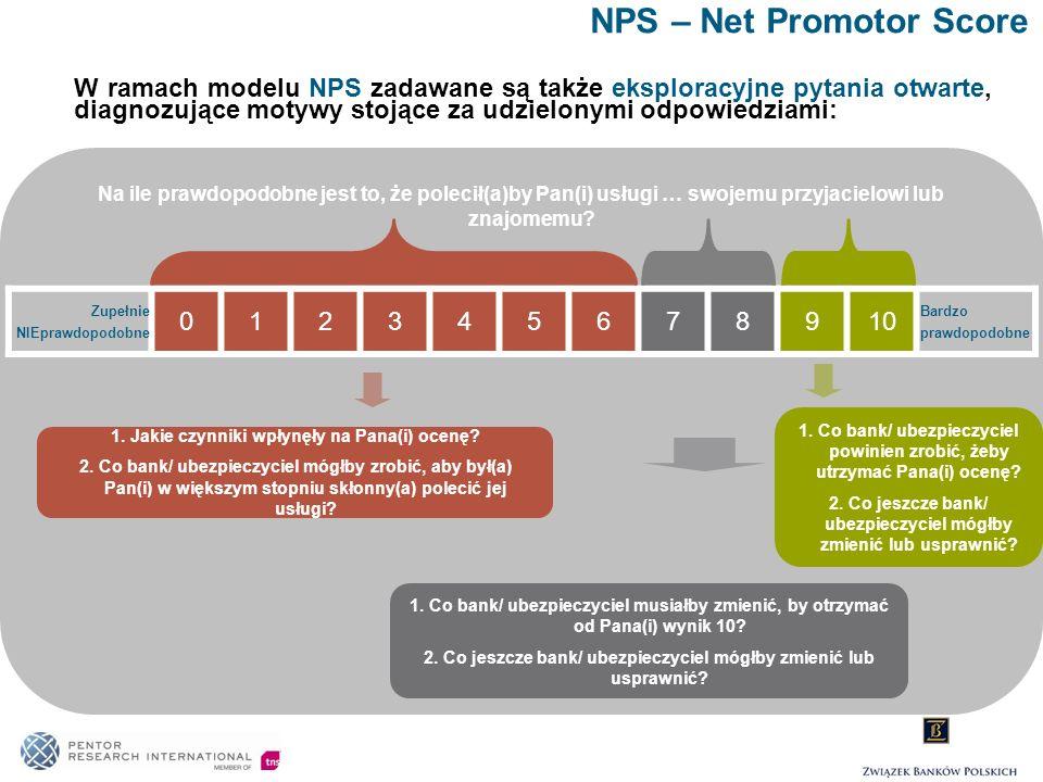 NPS – Net Promotor Score Na ile prawdopodobne jest to, że polecił(a)by Pan(i) usługi … swojemu przyjacielowi lub znajomemu? W ramach modelu NPS zadawa