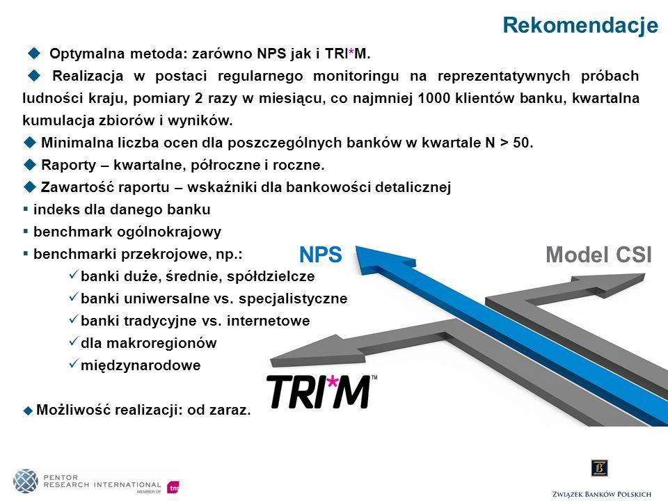 Rekomendacje NPSModel CSI Optymalna metoda: zarówno NPS jak i TRI*M. Realizacja w postaci regularnego monitoringu na reprezentatywnych próbach ludnośc