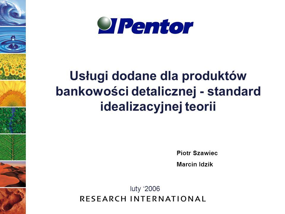 Usługi dodane dla produktów bankowości detalicznej - standard idealizacyjnej teorii luty 2006 Piotr Szawiec Marcin Idzik
