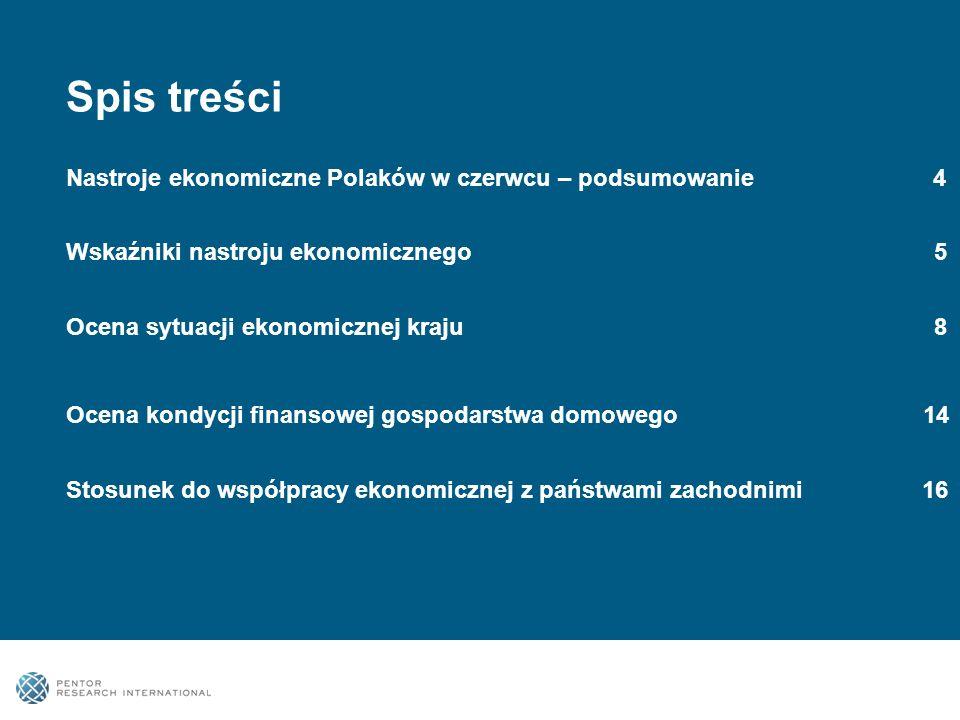Spis treści Nastroje ekonomiczne Polaków w czerwcu – podsumowanie 4 Wskaźniki nastroju ekonomicznego 5 Ocena sytuacji ekonomicznej kraju 8 Ocena kondycji finansowej gospodarstwa domowego 14 Stosunek do współpracy ekonomicznej z państwami zachodnimi 16