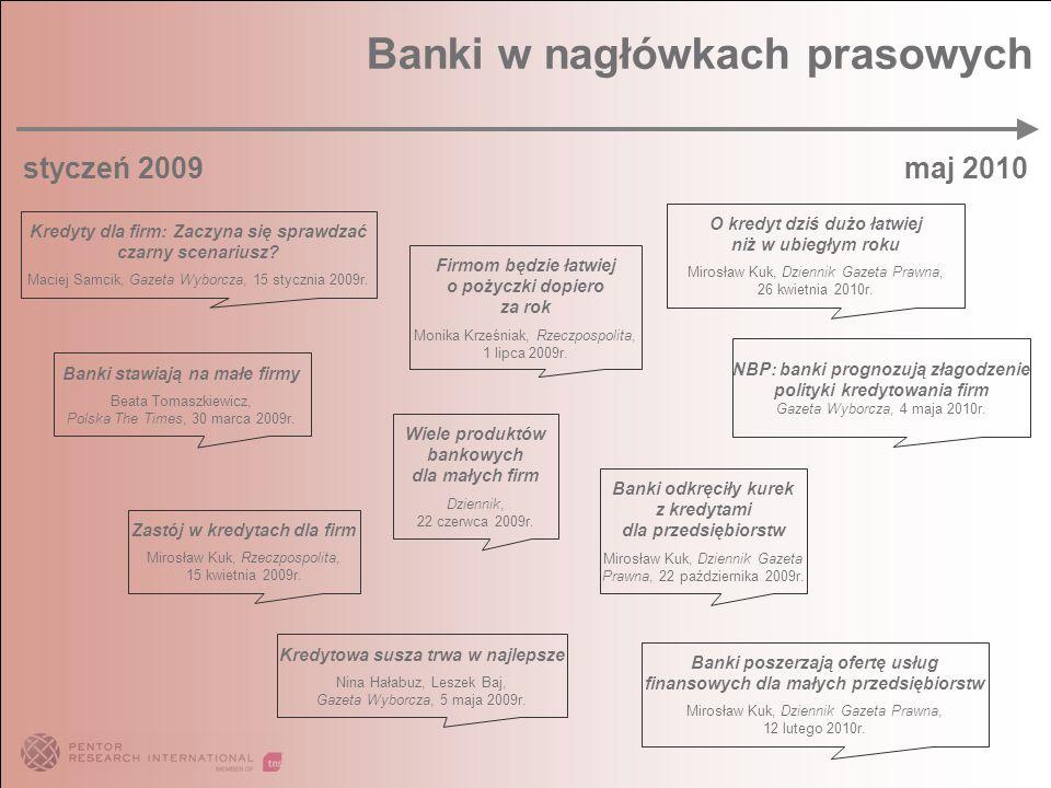 Banki w nagłówkach prasowych styczeń 2009 maj 2010 Kredyty dla firm: Zaczyna się sprawdzać czarny scenariusz? Maciej Samcik, Gazeta Wyborcza, 15 stycz