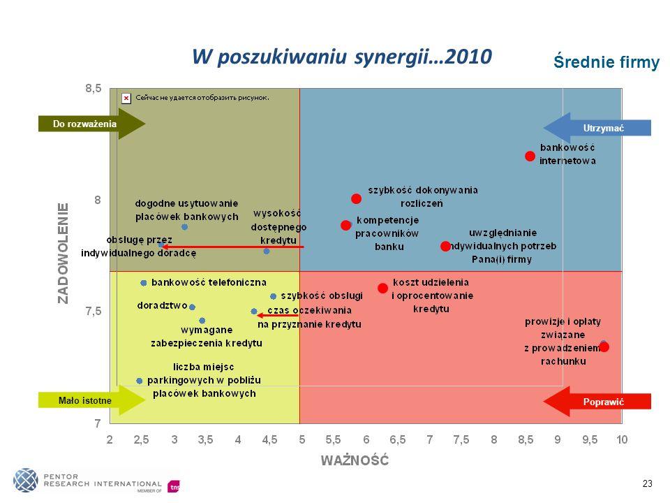 23 Średnie firmy Poprawić Utrzymać Mało istotne Do rozważenia W poszukiwaniu synergii…2010