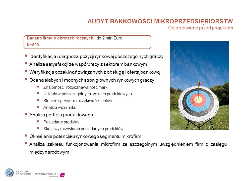 AUDYT BANKOWOŚCI MIKROPRZEDSIĘBIORSTW Cele stawiane przed projektem Identyfikacja i diagnoza pozycji rynkowej poszczególnych graczy Analiza satysfakcj