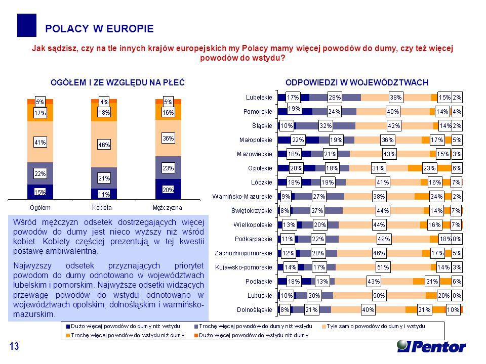 13 POLACY W EUROPIE Jak sądzisz, czy na tle innych krajów europejskich my Polacy mamy więcej powodów do dumy, czy też więcej powodów do wstydu.