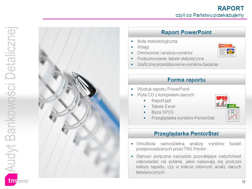 12 RAPORT czyli co Państwu przekazujemy Raport PowerPoint Nota metodologiczna Wstęp Omówienie i analiza wyników Podsumowanie, tabele statystyczne Graf