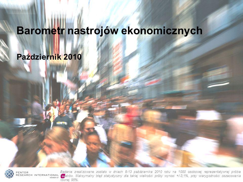 Październik 2010 Barometr nastrojów ekonomicznych Badanie zrealizowane zostało w dniach 8-13 października 2010 roku na 1000 osobowej reprezentatywnej próbie Polaków.