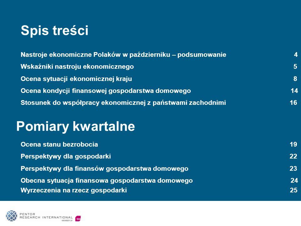 Spis treści Nastroje ekonomiczne Polaków w październiku – podsumowanie 4 Wskaźniki nastroju ekonomicznego 5 Ocena sytuacji ekonomicznej kraju 8 Ocena kondycji finansowej gospodarstwa domowego 14 Stosunek do współpracy ekonomicznej z państwami zachodnimi 16 Pomiary kwartalne Ocena stanu bezrobocia 19 Perspektywy dla gospodarki 22 Perspektywy dla finansów gospodarstwa domowego 23 Obecna sytuacja finansowa gospodarstwa domowego 24 Wyrzeczenia na rzecz gospodarki 25