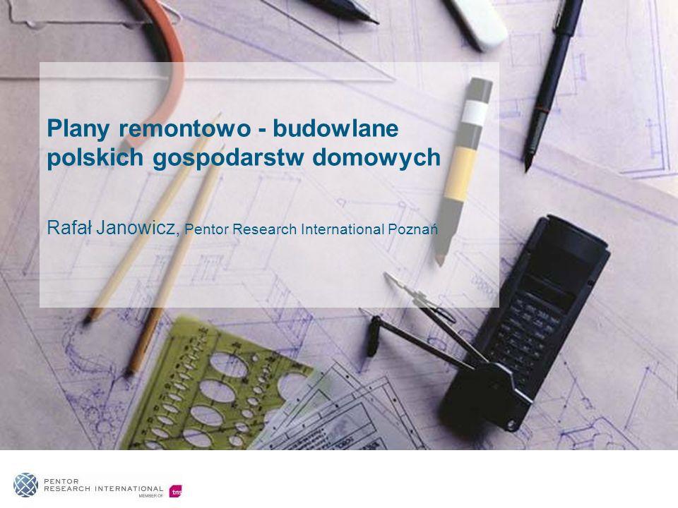 Główne zagadnienia 1.Plany remontowo – budowlane polskich gospodarstw domowych na rok 2010 oraz charakterystyka planujących prace remontowo - budowlane 2.Klienci wobec rosnącej liczby marek na rynku remontowo – budowlanym 3.Szara strefa w obszarze usług remontowo – budowlanych na rzecz gospodarstw domowych 4.Sytuacja gospodarstw domowych jako jedna z przesłanek decyzji w zakresie planów remontowo budowlanych