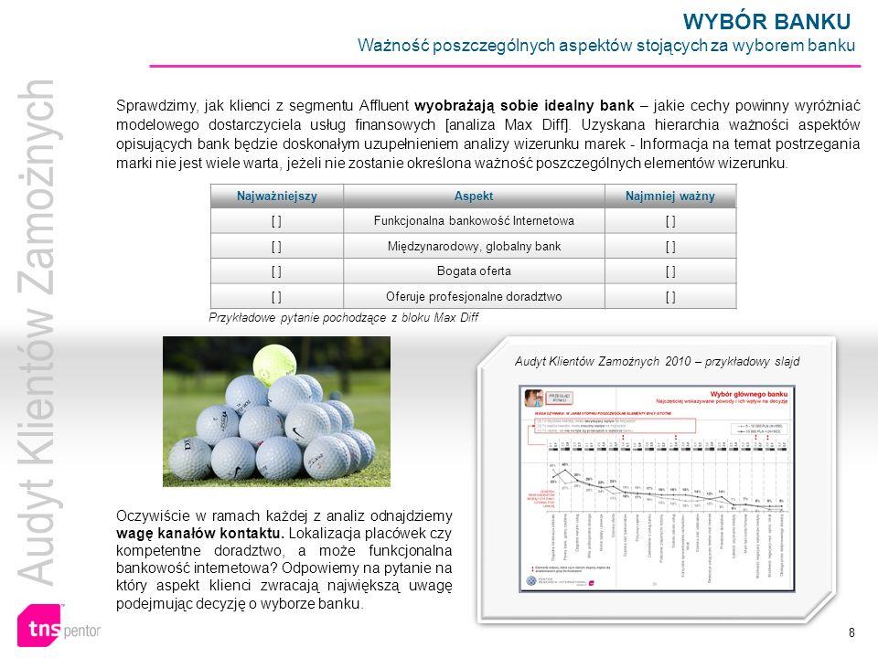 8 Audyt Klientów Zamożnych 2010 – przykładowy slajd Oczywiście w ramach każdej z analiz odnajdziemy wagę kanałów kontaktu. Lokalizacja placówek czy ko