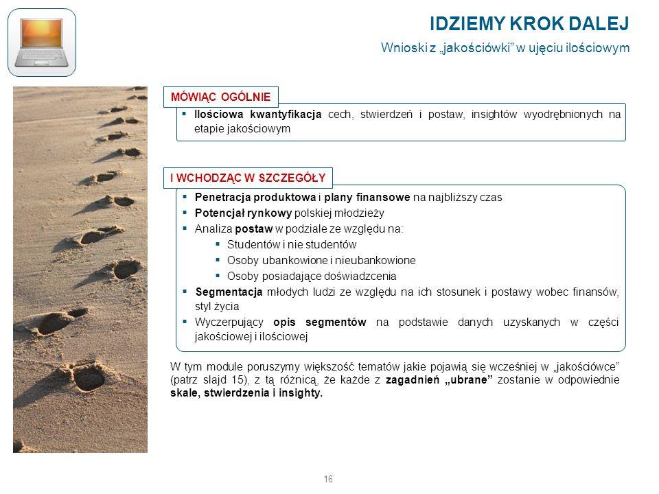 16 Penetracja produktowa i plany finansowe na najbliższy czas Potencjał rynkowy polskiej młodzieży Analiza postaw w podziale ze względu na: Studentów