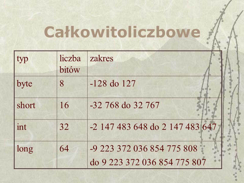 Całkowitoliczbowe typliczba bitów zakres byte8-128 do 127 short16-32 768 do 32 767 int32-2 147 483 648 do 2 147 483 647 long64-9 223 372 036 854 775 8