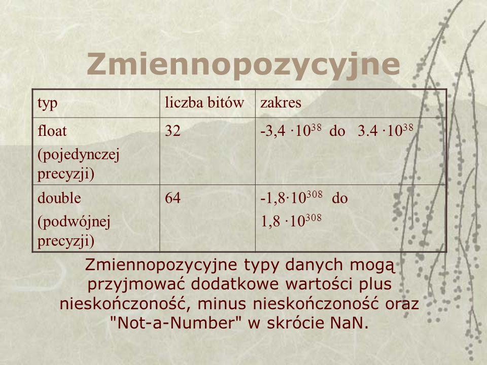 Zmiennopozycyjne typliczba bitówzakres float (pojedynczej precyzji) 32-3,4 ·10 38 do 3.4 ·10 38 double (podwójnej precyzji) 64-1,8·10 308 do 1,8 ·10 3