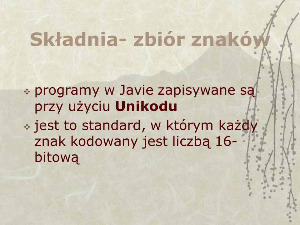 Zbiór znaków znaki Unikodu niedostępne z klawiatury można wpisywać w programach Javy w formacie \uxxxx gdzie x jest cyfrą szesnastkową tj.