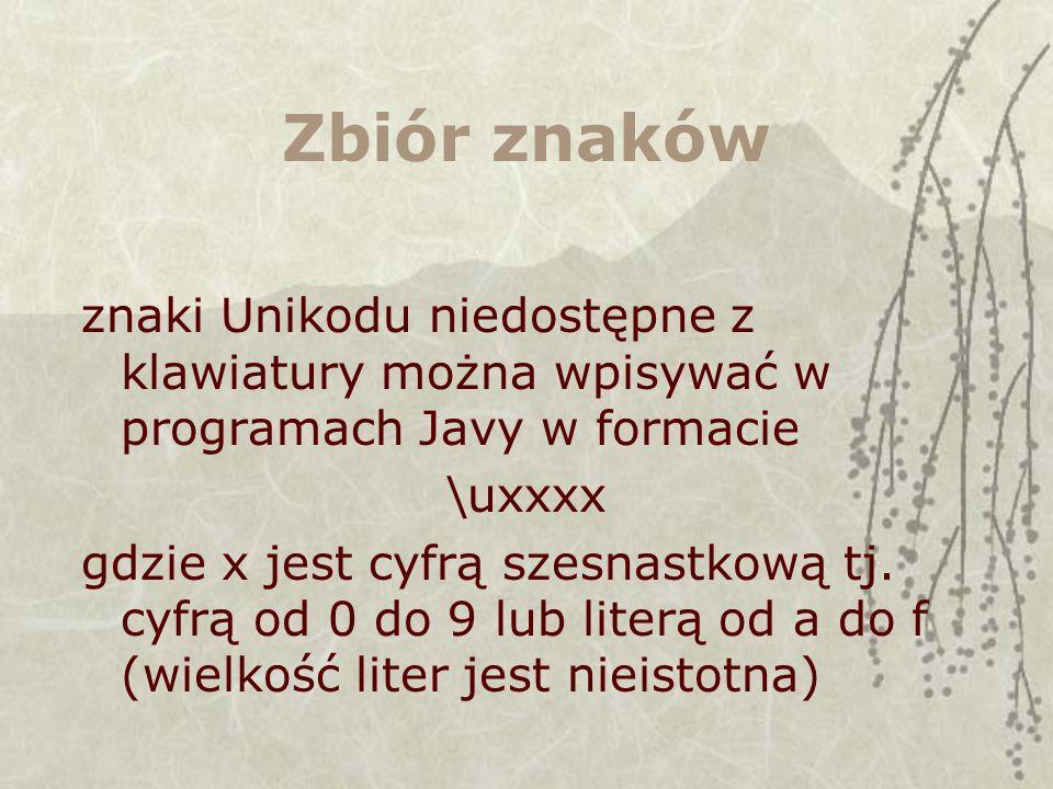 Zbiór znaków znaki Unikodu niedostępne z klawiatury można wpisywać w programach Javy w formacie \uxxxx gdzie x jest cyfrą szesnastkową tj. cyfrą od 0