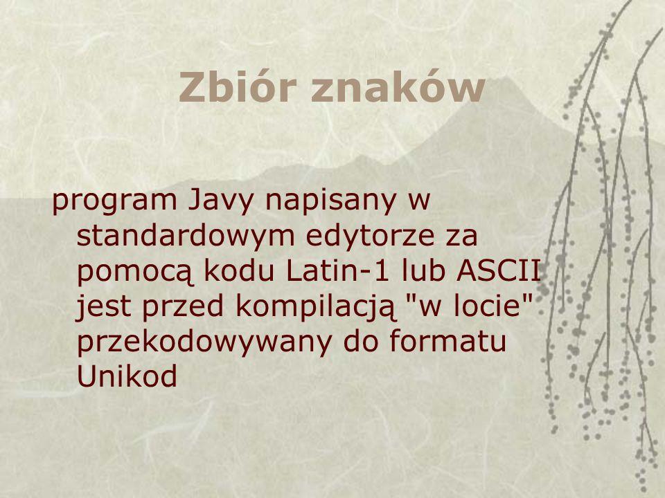 Zbiór znaków program Javy napisany w standardowym edytorze za pomocą kodu Latin-1 lub ASCII jest przed kompilacją