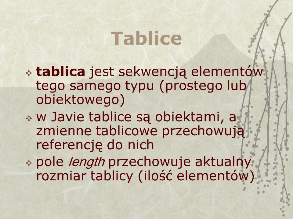 Tablice tablica jest sekwencją elementów tego samego typu (prostego lub obiektowego) w Javie tablice są obiektami, a zmienne tablicowe przechowują referencję do nich pole length przechowuje aktualny rozmiar tablicy (ilość elementów)