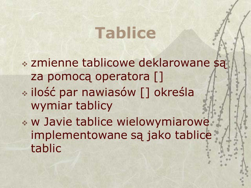 Tablice zmienne tablicowe deklarowane są za pomocą operatora [] ilość par nawiasów [] określa wymiar tablicy w Javie tablice wielowymiarowe implementowane są jako tablice tablic