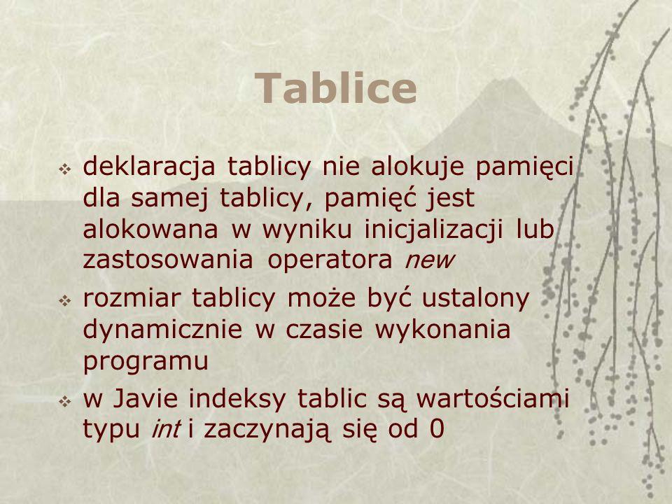Przykłady boolean tab2[]; // inna postać deklaracji int[] tab3 = { 3, 5, 7, 9 }; // deklaracja i inicjalizacja int[] tab4 = { 3, 5, 7, 9, }; // końcowy przecinek dopuszczalny char[] tab5 = new char[10]; // deklaracja i alokacja tablicy 10-elem.