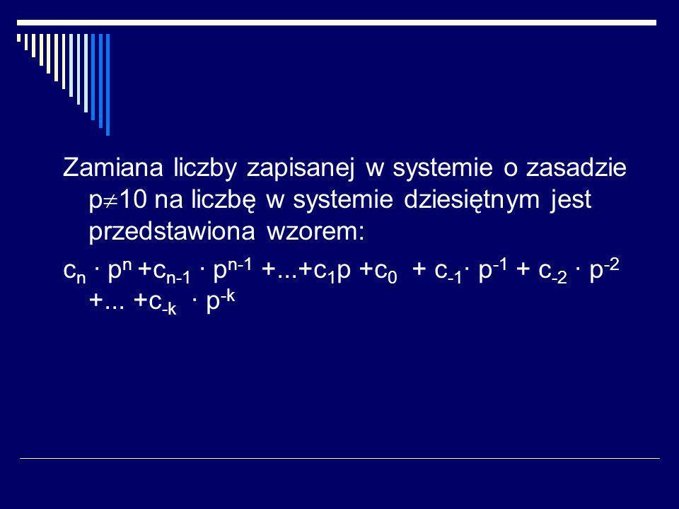 System dziesietny Podstawa liczenia: 10 Alfabet: {0,1,2,3,4,5,6,7,8,9} Zasady działania: tabliczka dodawania tabliczka mnożenia