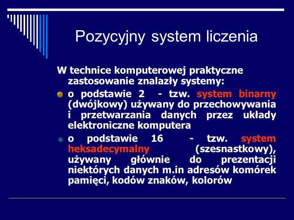 System binarny Podstawa liczenia: 2 Alfabet: {0, 1} Zasady działania: tabliczka dodawania tabliczka mnożenia +01 001 1110 *01 000 101