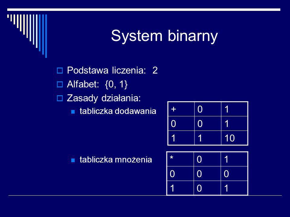 System binarny liczbę w systemie o podstawie 2 możemy przedstawić jako: L (2) =a n *2 n + a n-1 *2 n-1 + a n-2 *2 n-2...